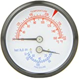 """PIC Gauge TRI-RC-254R1.75-D Commercial Tridicators with Black Steel Case, Bronze Internals, Plastic Lens with Red Indicator, 2-1/2"""" Dial Size, 1/4"""" Male NPT Connection Size, Stem Length 1.75 inches, 0/75 psi Range"""