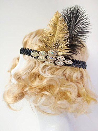 Handcrafted-Gold-Black-Feather-Flapper-Headband