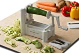 Kitchen Basics® Ultra-Durable Tri-Blade Vegetable Turning Spiral Slicer / Spiralizer for Zucchini, Potatoes, Squash, Carrots, Cucumbers, etc. / Design vegetable stir-fries or pasta dishes / Decorate serving dishes / Veggie Slicer Cutter to Make Healthy Zucchini Noodles Spaghetti Pasta Dishes; Substitute Noodles and Spaghetti Pasta Recipes with Gluten Free & Low Carb Easy Vegetable Noodles Meals Ideas