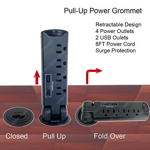 Desktop Pull-Up Powertap Grommet With Surge Protector