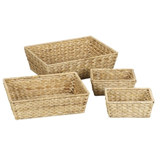 Household Essentials Set of 4 Banana Leaf Storage Utility Baskets, Natural