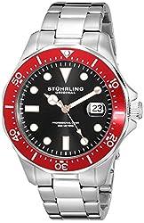 Stuhrling Original Men's 824.05 Aquadiver Red Bezel Stainless Steel Diver Watch