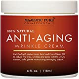 Majestic Pure Anti-Aging Night Cream for Woman and Men, 100% Natural, Safe and Gentle Cream Reduces the Appearance of Wrinkles, 4 fl oz
