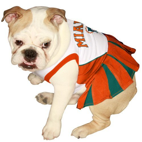 Pets First NFL Miami Dolphins Dog Cheerleader Dress, Small