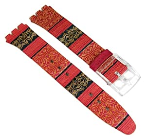 Swatch Correa de Reloj cuero/Textil Band 16mm rojo para Sweet Sarong SFK187