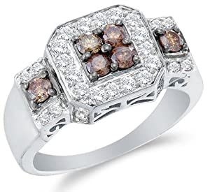 Size 12.5 - 14K White Gold Large White and Chocolate Brown Diamond Halo Engagement OR Fashion Right Hand Ring Band - Square Princess Shape Center Setting w/ Channel Set Round Diamonds - (1.00 cttw)