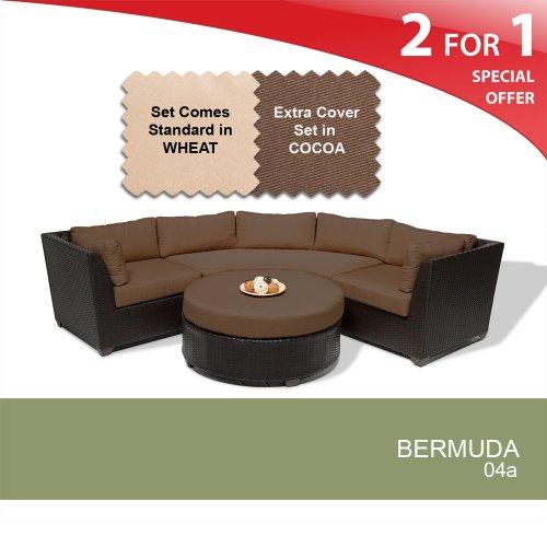 Fine Bermuda 4 Piece Outdoor Wicker Patio Furniture Set Cocoa Machost Co Dining Chair Design Ideas Machostcouk