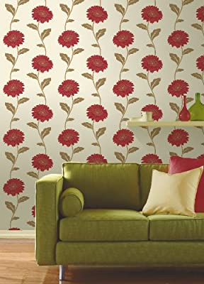Gerbera Floral Print Luxury Vinyl Wallpaper Natural Flower Leaf 10m Roll Art by FINE DECOR