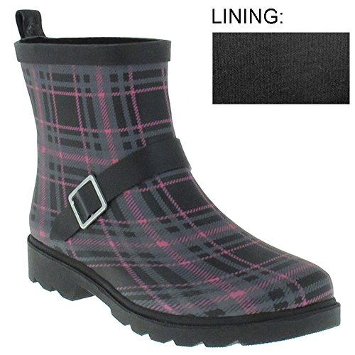 Plaid Printed With Ankle Buckle Strap Ladies Slip-On Rubber Rain Boot