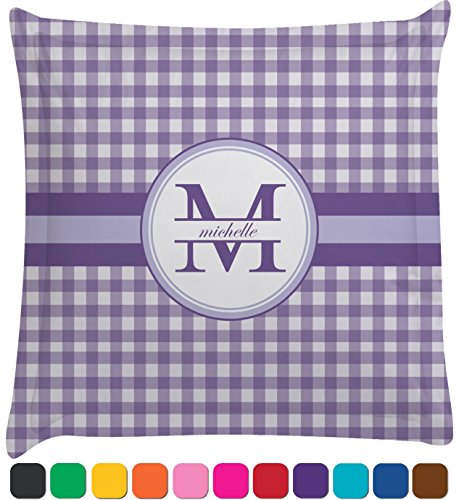 Gingham Print Personalized Euro Sham Pillow Case front-980839