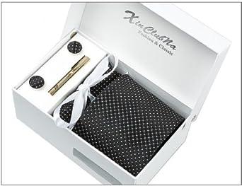 Noir avec points Blancs Ensemble Cravate d'homme , Mouchoir , épingle et boutons de manchette coffret cadeau
