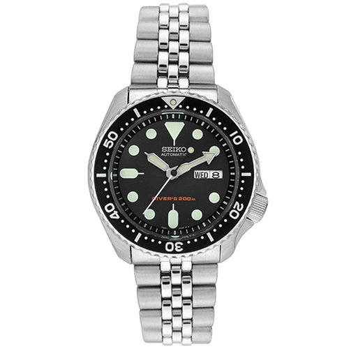 Seiko Men's SKX007K2 Silver Stainless-Steel Automatic Watch with Black Dial