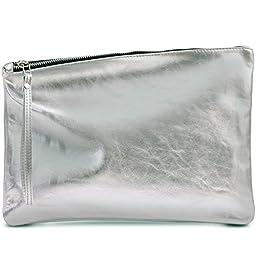 Leah Lerner Women Leather Clutch Silver