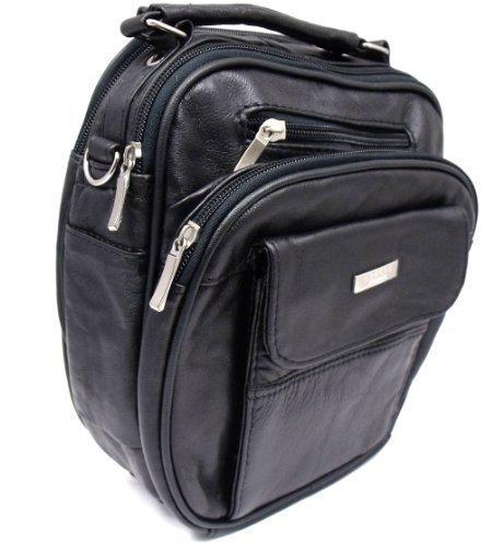 Mens Womans Messenger Bag Man Bag Shoulder Bag In Black Leather By Lorenz 1456