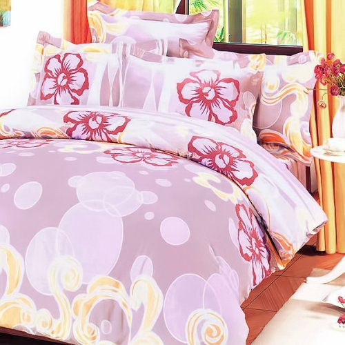 Blancho Bedding - [Misty Roses] 100% Cotton 4PC Comforter Cover/Duvet Cover Combo (King Size)