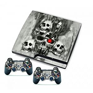 PS3 Slim Vinyl Skin Sticker Decal A Group Of Skull Heads & 2 Controller Skin