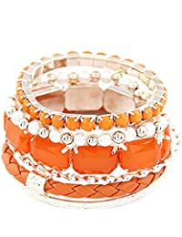 Young & Forever Valentine Special Tropical Summer Tangerine Stack 'em Up Orange Bangle Bracelet For Women By CrazeeMania