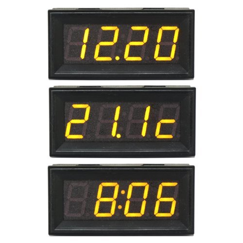 Riorand 4 Digit 0-200V Digital Voltmeter Led Electric Car/Motor Time Temperature Voltage Panel Meter 3In1 Yellow