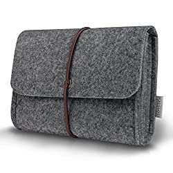 Inateck Felt Storage Pouch Bag Case for Accessory (Mouse, MacBook Power Adapter, Cellphone, Cables, SSD, HDD Enclosure, Power Bank and More) - Dark Gray