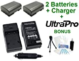 2-Pack Canon NB-2L High-Capacity Replacement Batteries with Rapid Travel Charger for Canon Digital Rebel XT, XTi, EOS 350D, 400D Digital Cameras - UltraPro BONUS INCLUDED: Camera Cleaning Kit, Camera Screen Protector, Mini Travel Tripod