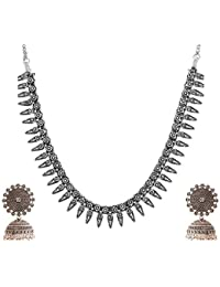 Ganapathy Gems Silver Metal Strand Necklace Set For Women (GPJC45)