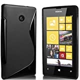 Black S-Line Gel Skin Case Cover For Nokia Lumia 520 + A High Grade Screen Protector & Polishing Cloth By Connect Zone®