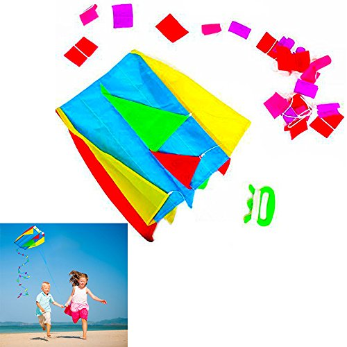 Dazzling Toys Parafoil Pocket Kite Colorful Long Tail Easy Pouch Outdoor Fun