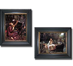 La Belle Dame Sans Merci & The Lady of Shalott by Waterhouse 2-pc Premium Black & Gold Framed Canvas Set (Ready-to-Hang)