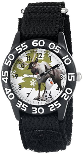 Disney Kids' Frozen Olaf & Sven Watch, W001788, Black Strap