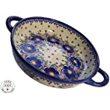 Classic Boleslawiec Pottery Handmade Ceramic Round Casserole with handles 152-U-097
