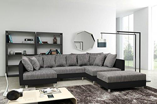 Sofa-Couch-Ecksofa-Eckcouch-in-schwarz-hellgrau-Eckcouch-mit-Hocker-Minsk-XXL