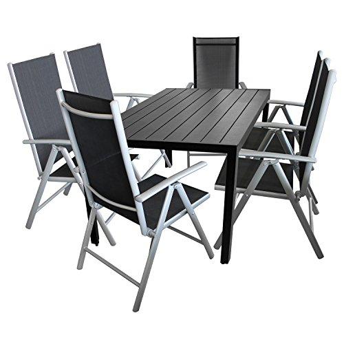 7tlg-Gartengarnitur-Balkonmbel-Terrassenmbel-Set-Sitzgruppe-6x-Hochlehner-Klappstuhl-pulverbeschichtet-Textilenbespannung-Gartentisch-Aluminium-Polywood-Non-Wood-Schwarz-150x90cm-Gartenmbel-Terrasseng