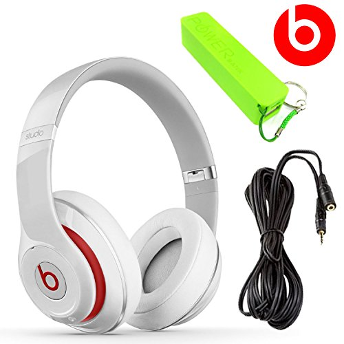 Beats By Dr. Dre - Beats Studio Over-The-Ear Headphones - 3.5Mm Stereo Headphone Extension 10 Feet + External Battery Power Bank Pack (White)
