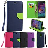 For Samsung Galaxy Note 4 Premium Luxury Magnetic Folio Flip TPU Leather Wallet Purse Foldable Stand Built-in...