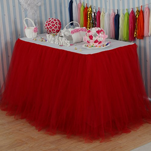 Vlovelife Red Tulle Table Skirt Tutu Tableware TableCloth Party Baby Shower Birthday Wedding Decorations Favor 100cm X 80cm Customized Size Available (Red Tableware compare prices)