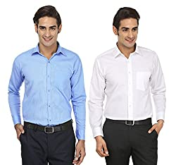 FOCIL Sky Blue & White Formal Wear Combo Shirt For Men (Pack of 2)