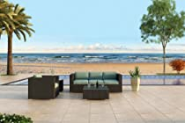Hot Sale Urbana 3 Piece All-Weather Wicker Outdoor Sofa Set with Sunbrella Canvas Spa (5413-0000) Cushions