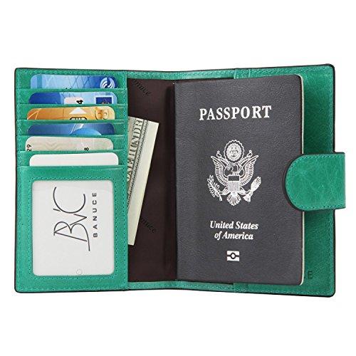Banuce da donna in vera pelle Summer Set colorato per passaporto, Verde (Verde) - RTJHPW035-SGN