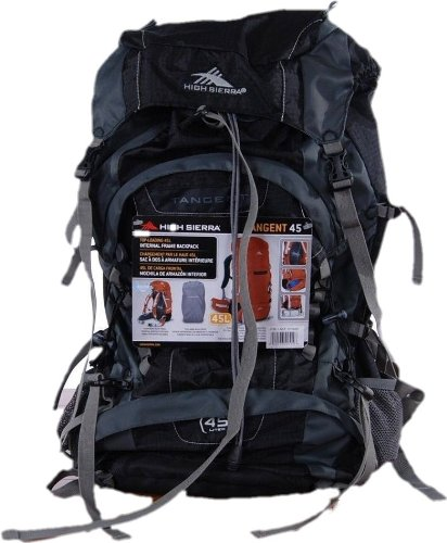 High Sierra Tangent 45 L Top-Loading Internal Frame Backpack (Black) front-383803