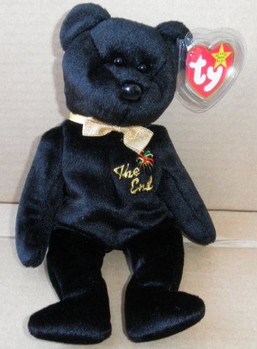 TY Beanie Babies The End Bear Stuffed Animal Plush Toy - 8 1/2 inches tall - Black with Gold Bow - printing on it is The End on Chest
