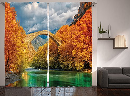 Ambesonne Apartment Decor Collection, Overcast Landscape of Historical Konitsa Bridge and Aoos River with Autumn Trees View, Living Room Bedroom Curtain 2 Panels Set, 108 X 90 Inches, Mustard Teal