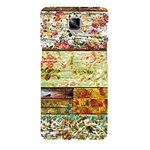 RICKYY _1PLS3_1156 Printed Matte designer Flowers on the wood case for One Plus Three