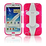 Defender Heavy Military-Duty Style Series Case with Holster for Samsung Note 2 N7100 (Hot Pink / White)