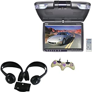 Vehicle Monitor Receiver and Wireless Dual Headphones Package - PLRD125 12.1'' TFT LCD Flip-Down Roof Mount Built-In DVD Player w/ FM Modulator/IR Transmitter - PLVWH6 Dual Wireless IR Mobile Video Stereo Headphones w/Transmitter (Pair) for Car, Van, Truck, Bus, Mobile etc.
