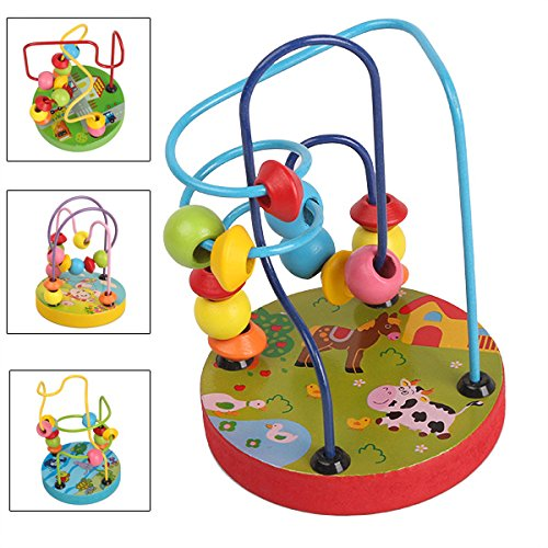 Generic Colorful Kids Baby Wooden Mini Around Beads Wire Maze Educational Toy front-232629