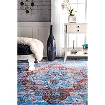 "Traditional Vintage Grand Gothic Antique Blue Runner Area Rugs, 2 Feet 6 Inches by 7 Feet 10 Inches (2' 6"" x 7' 10"")"