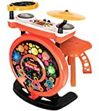Electronic Drum Set for Kids, Connects to MP3/Smart Phone, Record/Playback Feature, Built-in Rhythms & Demo Songs, Flashing Lights and a Stool.