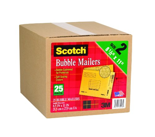 Scotch Bubble Mailer, 8.5 x 11-Inches, Size #2, 25-Pack (Padded Mailing Envelopes compare prices)