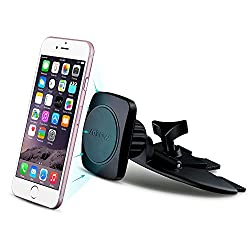 Mpow Magnetic 360°Free Swivel Universal CD Slot Car Cradle-less Mount Holder for iPhone 6/6+/6s, Galaxy Note 5/4, Galaxy S6/S5/S4 and more,Black