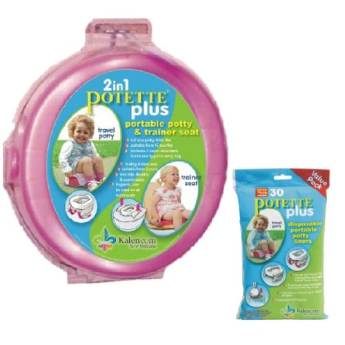 Kalencom 2 In 1 Potette Plus Portable Girl'S Potty-Toilet Training Seat With 30 Potty Liners Set